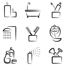 Free Bathroom Icons Royalty Free Stock Image - 17082356