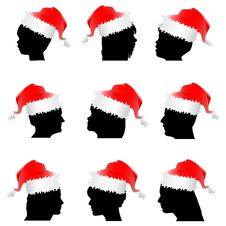 Free Santa Claus Red Hat With Face Stock Photography - 17082492