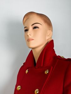 Red Coat On Mannequin Stock Image