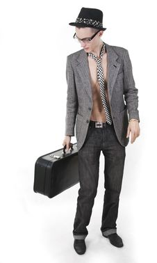 Free Vintage Young Man With A Case Looks Aside Stock Photos - 17087153