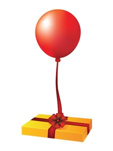Box With A Gift And A Balloon. Stock Photography