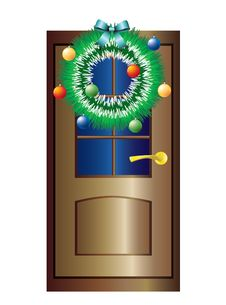 Free Christmas Wreath On The Door. Royalty Free Stock Image - 17088136