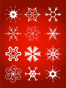 Set Of Vector Snowflakes Stock Photos