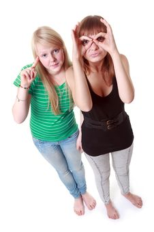 Two Girls Stand And Make Faces Stock Photos