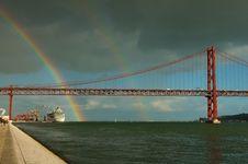 Portugal Lisbon Rainbow Royalty Free Stock Photo