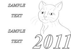 Free Frame With Styled Cat New Year Symbol Stock Image - 17088611