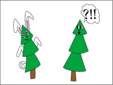 Tree In A Mask Of A Rabbit Stock Photos