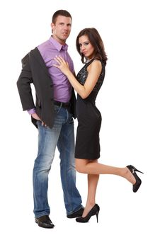 Sexy Elegant Couple Posing In Studio Royalty Free Stock Photo