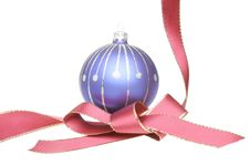 Christmas Tree Ball And Red Ribbon Stock Images
