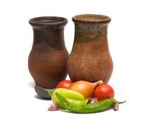 Still Life With An Old Pitcher. Royalty Free Stock Photos