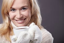 Free Attractive Girl With A Cup Stock Photography - 17091372