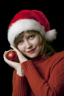 Free Girl In Santa Style Hat Royalty Free Stock Image - 17091436