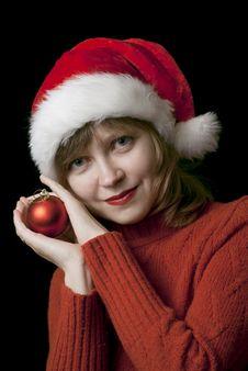 Girl In Santa Style Hat Royalty Free Stock Image