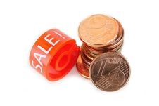 Free Hanger Marker With Sale Word And Euro Coins Stock Photography - 17093642