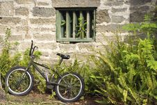 Bicycle In Front Of An Old Wall Royalty Free Stock Photography