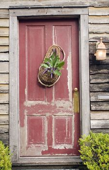 Old Red Wooden House Door Royalty Free Stock Photos