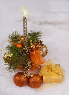 Christmas Silver Candles Stock Photo