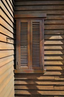 Free Wooden Window At Corner Royalty Free Stock Image - 17095076