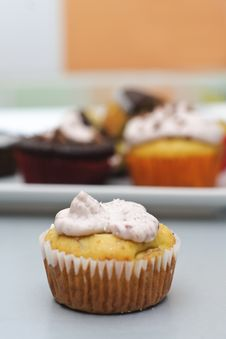 Banana Cupcake With Cheese Frosting Royalty Free Stock Images