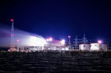 Refinery Complex At Winter Night Royalty Free Stock Photos