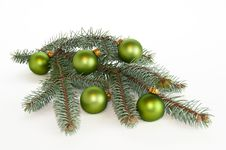 Free Single Branch Of Pine Christmas Decorated Stock Image - 17095731