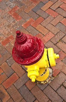 Old Pedestrian Brick Paveway With Hydrant Stock Photo