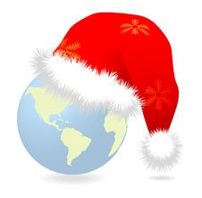 Free Santa Cap Over Earth Globe Royalty Free Stock Photo - 17096805