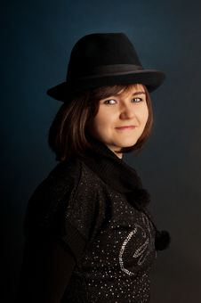 Free Portrait Of Attractive Young Girl In Hat. Royalty Free Stock Image - 17096936