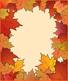 Autumn Card With Maple Stock Images