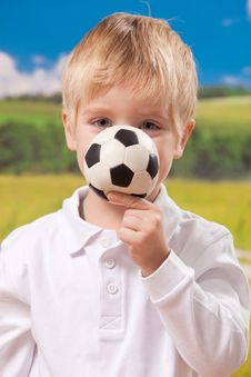 Free Cute Boy Holding Football Royalty Free Stock Photo - 17098775