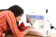 Free Seamstress Work On The Sewing-machine Stock Photos - 17099013