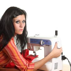 Free Seamstress Work On The Sewing-machine Stock Image - 17099021