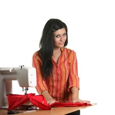 Free Seamstress Work On The Sewing-machine Royalty Free Stock Photos - 17099038