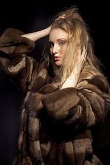 Woman In Fur Jacket Royalty Free Stock Photos