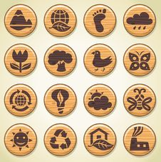 Free Wooden Environment Icons Set 2 Royalty Free Stock Photography - 17099977