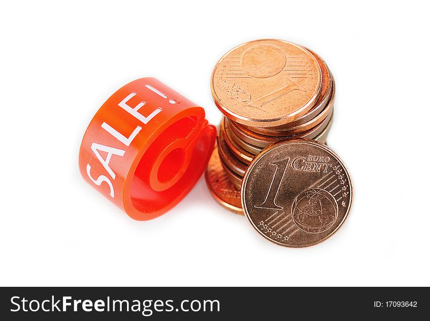 Hanger marker with Sale word and euro coins