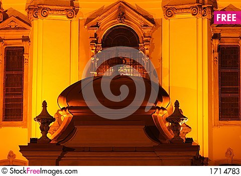 Church detail by night Stock Photo