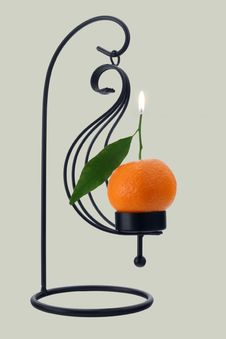 Free Mandarin Orange Scented Candle Royalty Free Stock Photos - 1710778