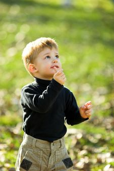 A Little Boy Eating Short Stick Royalty Free Stock Images