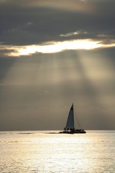 Free Sailing Through The Sunset Royalty Free Stock Image - 1714026