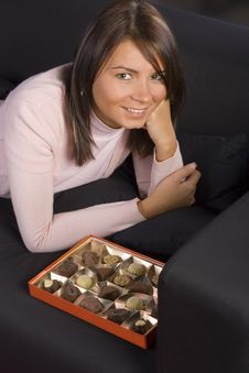 Free Young Woman With Box Of Chocolates Stock Photo - 1719220