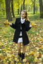 Free Happy Young Girl Enjoying Autumn In The Park Royalty Free Stock Image - 17102416