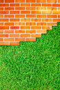 Free Brick Wall Fence And Grass Field Stock Photos - 17105753