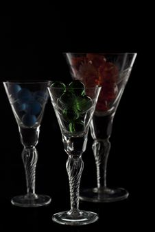 Free Different Glasses Full With Marbles Royalty Free Stock Photos - 17100598