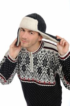 Free Funny Winter Man In Warm Hat And Clothes Listening Royalty Free Stock Photography - 17100687