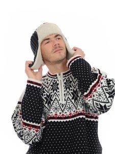 Free Funny Winter Man In Warm Hat And Clothes Listening Stock Photo - 17100700