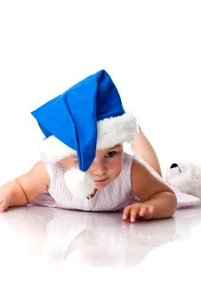 Free Baby Lying In Santa S Blue Hat Stock Image - 17102331