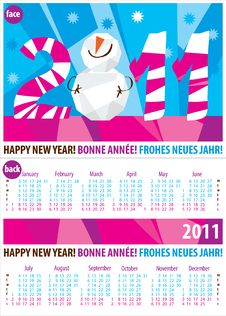 Free Colorful Calendar For Year 2011.Vector Format. Royalty Free Stock Photos - 17102618