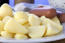 Raw Peeled Potatoes Royalty Free Stock Photo