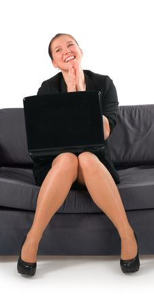The Businesswoman Very Emotionally Works At The Co Royalty Free Stock Images